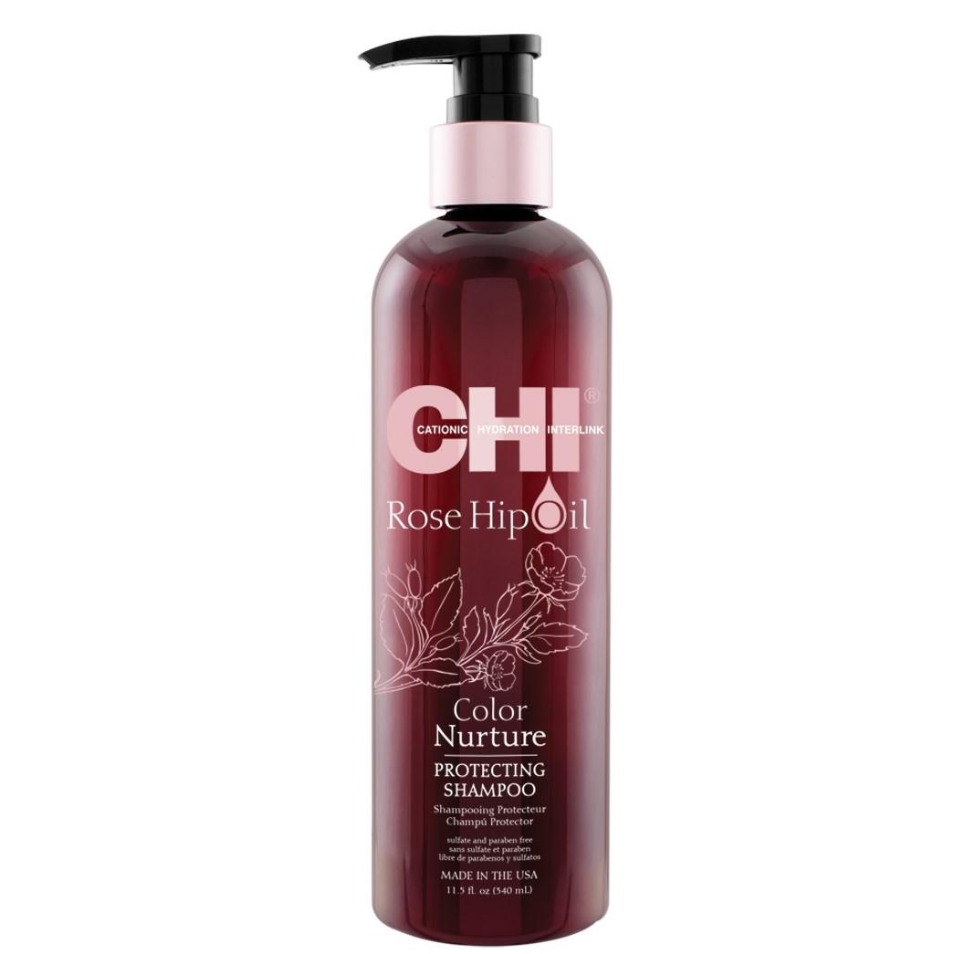 CHI ROSE HIP OIL Шампунь для защиты цвета окрашенных волос с маслом шиповника, 340мл