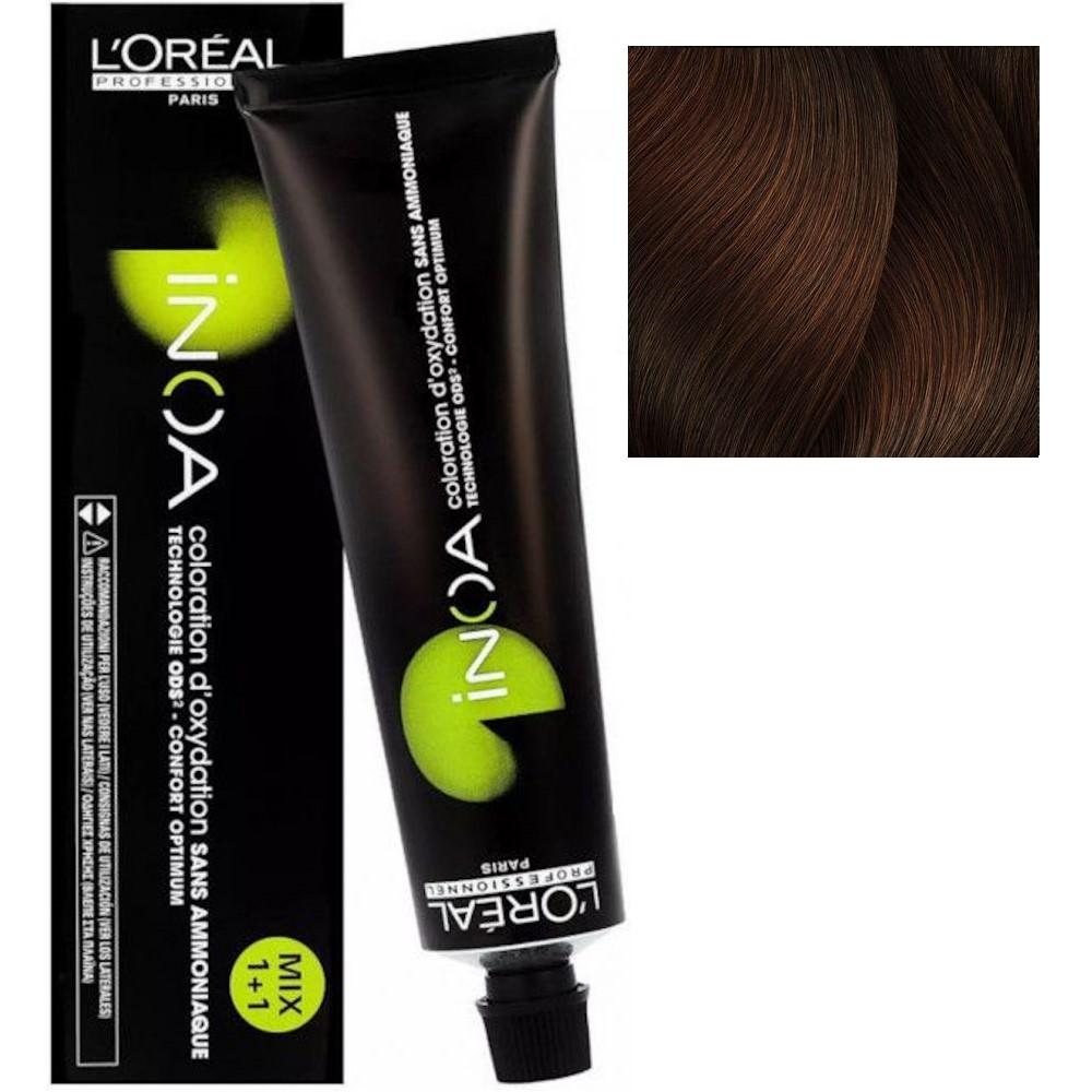 L'Oreal INOA 5.4 Светлый шатен медный Стойкая краска для волос без аммиака, 60г