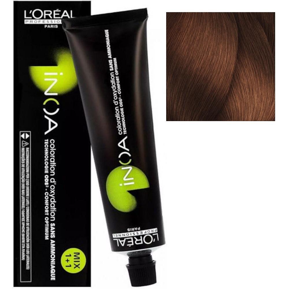 L'Oreal INOA 6.42 Темный блонд медный перламутровый Стойкая краска для волос без аммиака, 60г