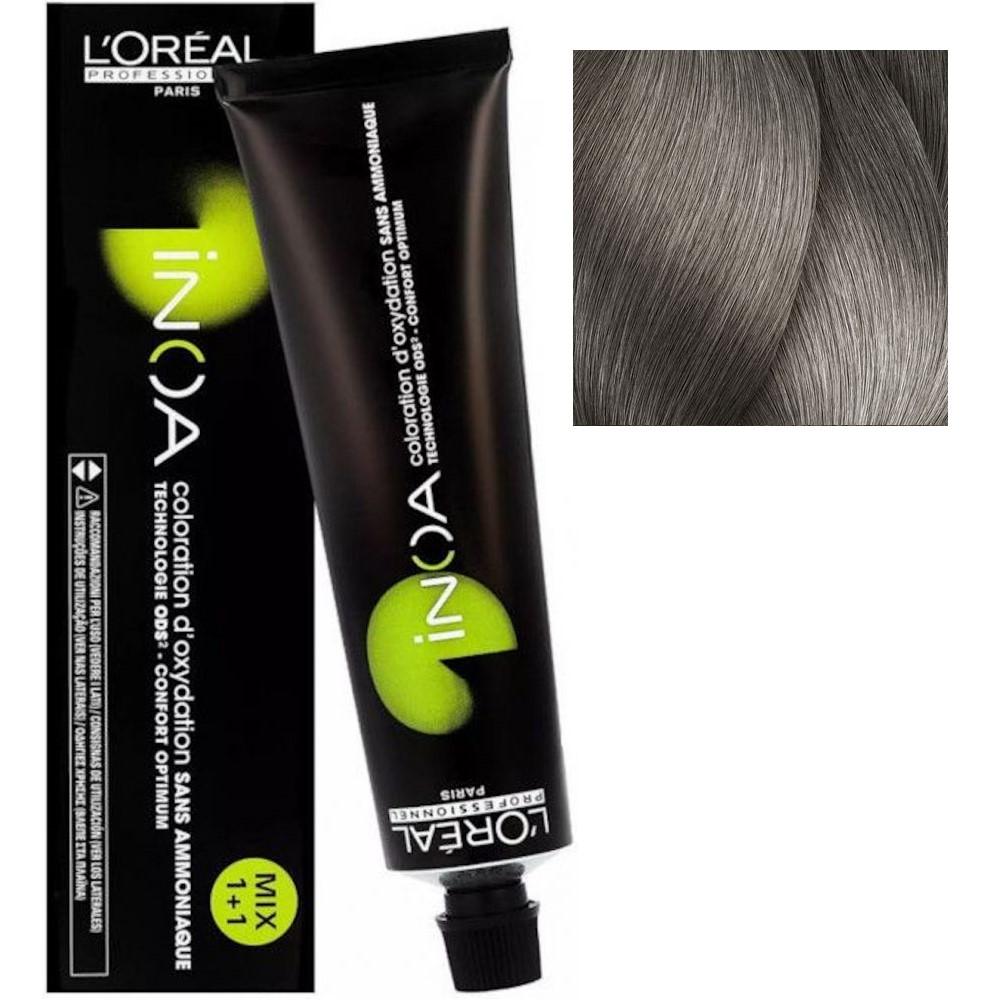 L'Oreal INOA 8.1 Светлый блонд пепельный Стойкая краска для волос без аммиака, 60г