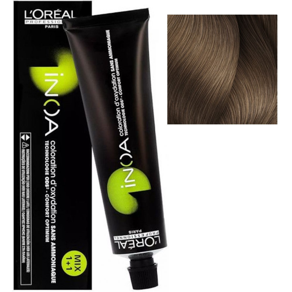 L'Oreal INOA 8.12 Светлый блонд пепельный перламутровый Стойкая краска для волос без аммиака, 60г