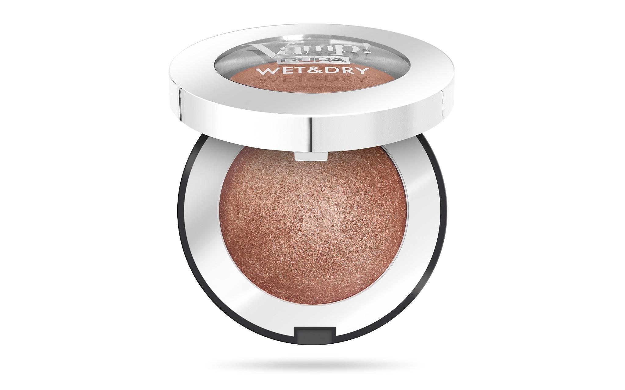 Pupa Vamp Wet&Dry Запеченные тени с сияющим финишем тон 104 Hot Copper